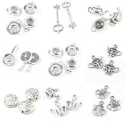 28 Pieces Antique Silver Tone Jewelry Making Charms Spot Rou