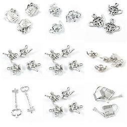 31 Pieces Antique Silver Tone Jewelry Making Charms Spots Sk