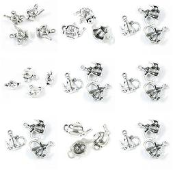 29 Pieces Antique Silver Tone Jewelry Making Charms Teapot T