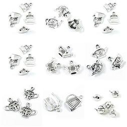 31 Pieces Antique Silver Tone Jewelry Making Charms Teapot T
