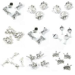 33 Pieces Antique Silver Tone Jewelry Making Charms Wineglas