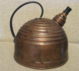 """ART DECO Antique SOLID COPPER """"BEEHIVE"""" TEA KETTLE with WHIS"""