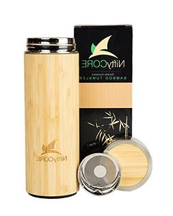 Bamboo Tumbler with Tea Infuser Loose Leaf Strainer - 14 oz