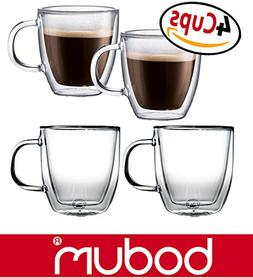 Bodum Bistro 5-Ounce Double Wall Glass, Espresso Coffee Cups