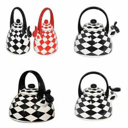HOME-X Black Checkered Whistling Tea Kettle, Cute Animal Tea