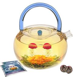 blue rainbow glass teapot kettle