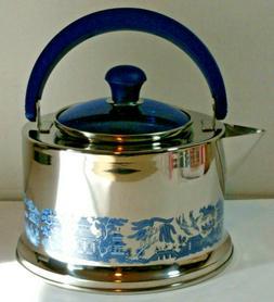 Cuisine Cookware Blue Willow 18/10 Stainless Steel Tea Kettl