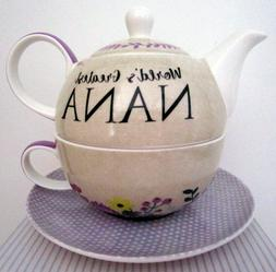 "BONE CHINA TEA FOR ONE ""WORLD'S GREATEST MUM"" SET LOVELY BIR"