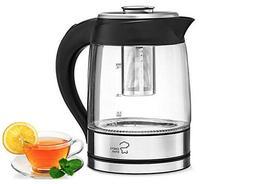 Borosilicate Glass Tea Kettle with Infuser 1.8-Liter Electri