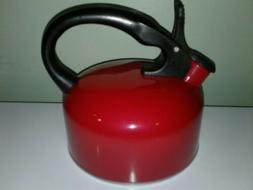 Bradshaw Whistling Teakettle 2.5 Quart Red