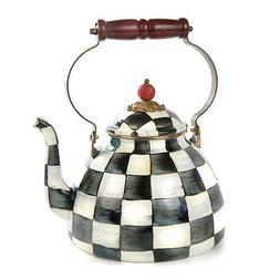 Brand New Mackenzie Childs Courtly Check Enamel Tea Kettle -