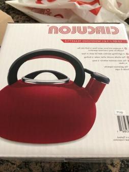 Brand new nib red Circulon Sunrise Whistling Teakettles, 1.5