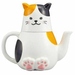 CALICO CAT TEA FOR ONE TEA POT AND TEA CUP SET DESIGNED IN J