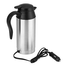 Qiilu 750ml Car Electric Kettle Stainless Steel 12V Automoti