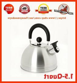 Carterton 1.5 Quart Stainless Steel Whistling Tea Kettle Whi