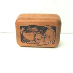 Carved Wooden Cat Tea Kettle Trinket Box Jewelry Hinge Closu
