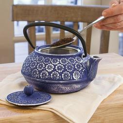 cast iron teapot | blue floral design w/stainless steel infu