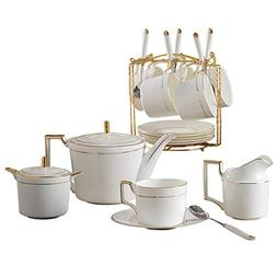 YI HOME- Coffee Cup Set White Ceramic English Kettle Househo