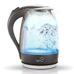 Chefs Star Borosilicate Glass Electric Kettle, 1.7 Liter Bla
