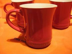 Le Creuset 14 Ounce Cherry Stoneware Tea Mug, Set of 4