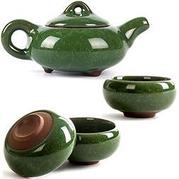 CoreLife Chinese Tea Set, Kung Fu Porcelain Handmade Ceramic