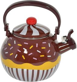 HOME-X Chocolate Cupcake Whistling Tea Kettle, Cute Teapot,