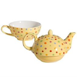 Yedi Houseware Classic Coffee and Tea Polka Dot Tea For One