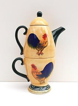 Classic Rooster Hand-Painted Collection Tea for One Set