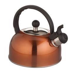 Copper Color Whistling Tea Kettle 2 Quart Heavy Guage Steel