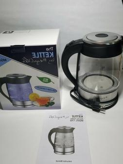Cordless Electric Glass Kettle Hot Water Clear Boiler Blue L