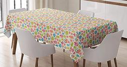 BMALL Cotton Linen Tablecloth Tea Time Theme Illustration of
