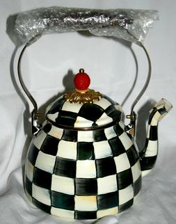 Mackenzie Childs Courtly Check Enamel Tea Kettle  3 Quart Ne