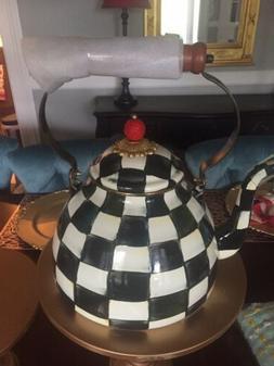Mackenzie Childs Courtly Check Enamel Tea Kettle - 3 Quart -