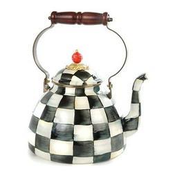 MacKenzie-Childs Courtly Check Enamel Tea Kettle 2 Quart