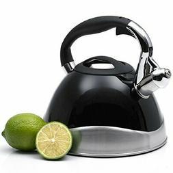 Creative Home Crescendo Whistling Tea Kettle, 3.1-Quart, Bla