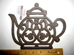 Decorative Cast Iron Teapot Trivet-Footed. Tables Dining Kit