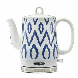 BELLA Electric Ceramic Kettle Water boills, Blue Aztec Desig