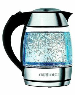 CHEFMAN Electric Cordless Glass Kettle with Tea Infuser 1.8