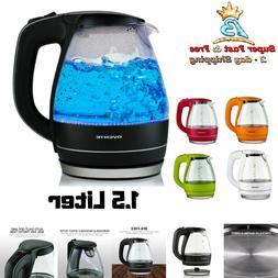 Electric Glass Kettle Cordless Hot Water Boiler Tea Pot 1.5