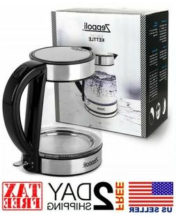 Electric Glass Tea Kettle- 1.7L Fast Boiling & Cordless, Sta
