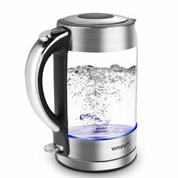 Electric Kettle, 1.7 L Cordless Glass Kettle & Water Boiler,