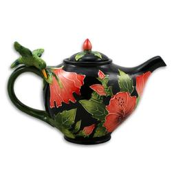 Elegant Red HIBISCUS with Hummingbird Teapot by Jeanette McC