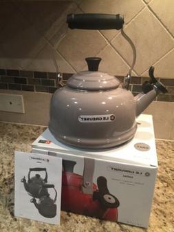 LE CREUSET Enamel Gray Grey Tea Kettle 1.7 QT/1.6L Whistle N