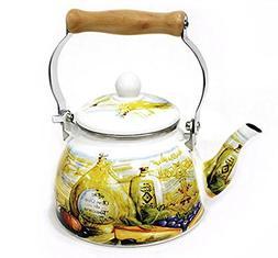 Enamel Kettle Tea Pot 1.5 Liter Olive IH Induction cooker Av