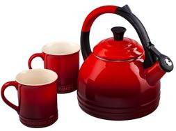 Le Creuset Enamel on Steel Kettle and Mug Gift Set, Cerise