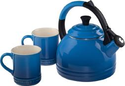 Le Creuset Enamel on Steel Kettle and Mug Gift Set, Marseill