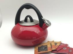 enameled steel 2 quart tea kettle in