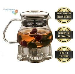 Ovente FGB Heat Tempered Glass Teapot with Warmer and Tea In