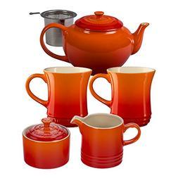 Le Creuset Flame Stoneware 5 Piece Teapot Service Set with M