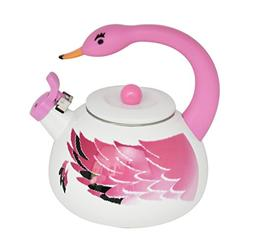 HOME-X Pink Flamingo Whistling Tea Kettle, Animal Teapot, Ki